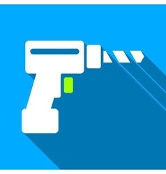 Drill Flat Long Shadow Square Icon vector