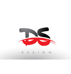 Ds d s brush logo letters with red and black vector