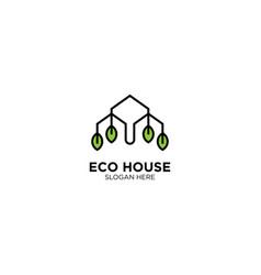 Eco house logo line outline monoline icon vector