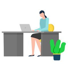 Employee working with laptop international vector