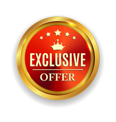 exclusive offer golden medal icon seal sig vector image