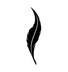 feathers pen black icon silhouette logo goose vector image