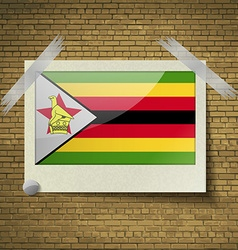 Flags Zimbabweat frame on a brick background vector image