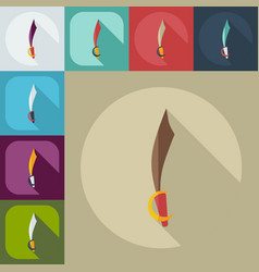 Flat modern design with shadow icons sword vector