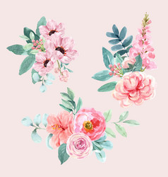 Floral charming bouquet design with watercolor vector