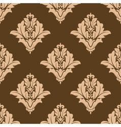 Floral seamless pattern with brown and beige vector image
