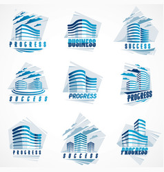 futuristic buildings set modern style vector image