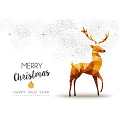 Gold Christmas and new year reindeer low poly art vector image