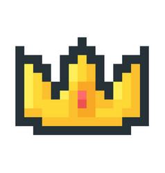 golden crown pixel art icon vector image
