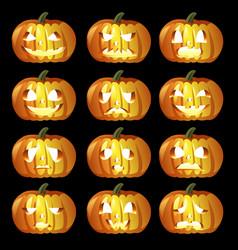 Halloween pumpkin icons vector