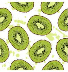 Hand drawn kiwi fruit seamless pattern vector