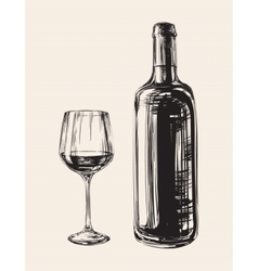 Hand Drawn Wine Glass and Bottle vector