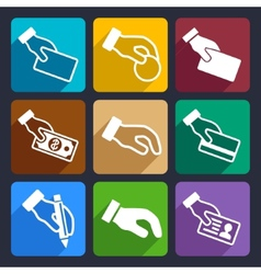 Hand with different objects Flat Icons Set 42 vector image