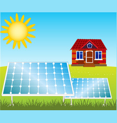 House and solar panels vector
