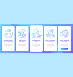 Intermittent fasting tips blue onboarding mobile vector