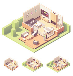 isometric garden summer house vector image