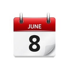 June 8 flat daily calendar icon date vector