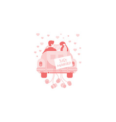 just married bride and groom in car wedding vector image
