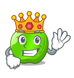 King green smith apple isolated on cartoon vector