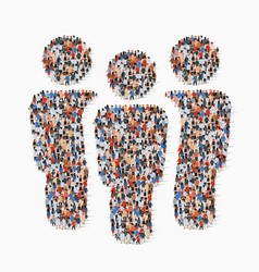 Large group people in team sign shape vector