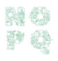 letters n o p q pattern logo farm fresh fruits vector image