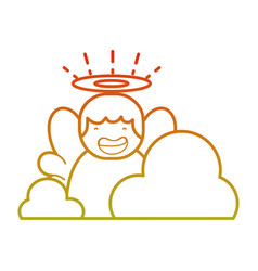 Line cute angel with aureole and wings with clouds vector
