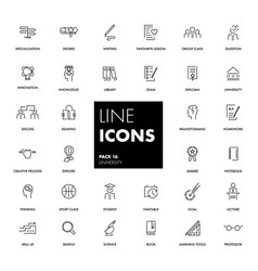 line icons set university vector image