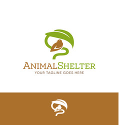 Logo of bird sheltered under leaf vector