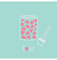 Love paint with hearts inside Card Pink and blue vector image