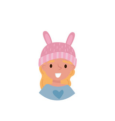 lovely girl in a pink hat with ears avatar of vector image