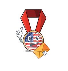 Mascot usa medal in character bring envelope vector
