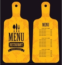Menu in the form of cutting board vector