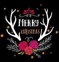 Merry christmas retro hipster poster with hand vector