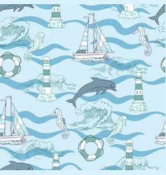 Nautical seamless pattern vector