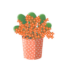 orange flowers with large green leaves in wide red vector image