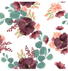 Pattern seamless floral lush watercolour style vector