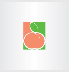 Peach fruit logo icon vector