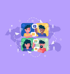 people chatting online together flat poster vector image