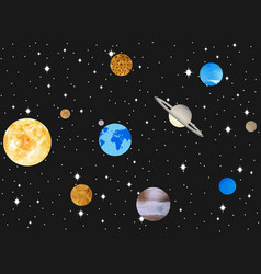 Planets of the solar system outer space vector