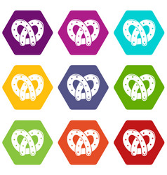 Pretzel icons set 9 vector