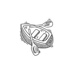 rowing boat sketch drawing icon vector image