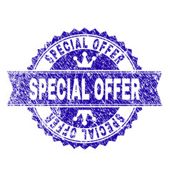 Scratched textured special offer stamp seal with vector