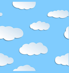 Seamless pattern with papercraft clouds vector