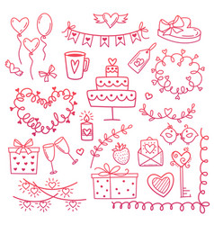 set hand drawn doodle love elements for wedding vector image
