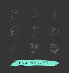 Set of nature icons line style symbols with fir vector