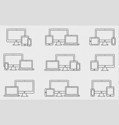Set of outline device icons monitor vector