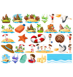 set of summer beach collection vector image