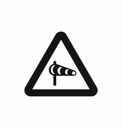 Sign warning about cross wind from the left icon vector
