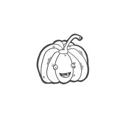 sketch drawing doodle icon pumpkin laughs vector image