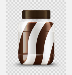 Spread glass jar with milk and chocolate cream vector